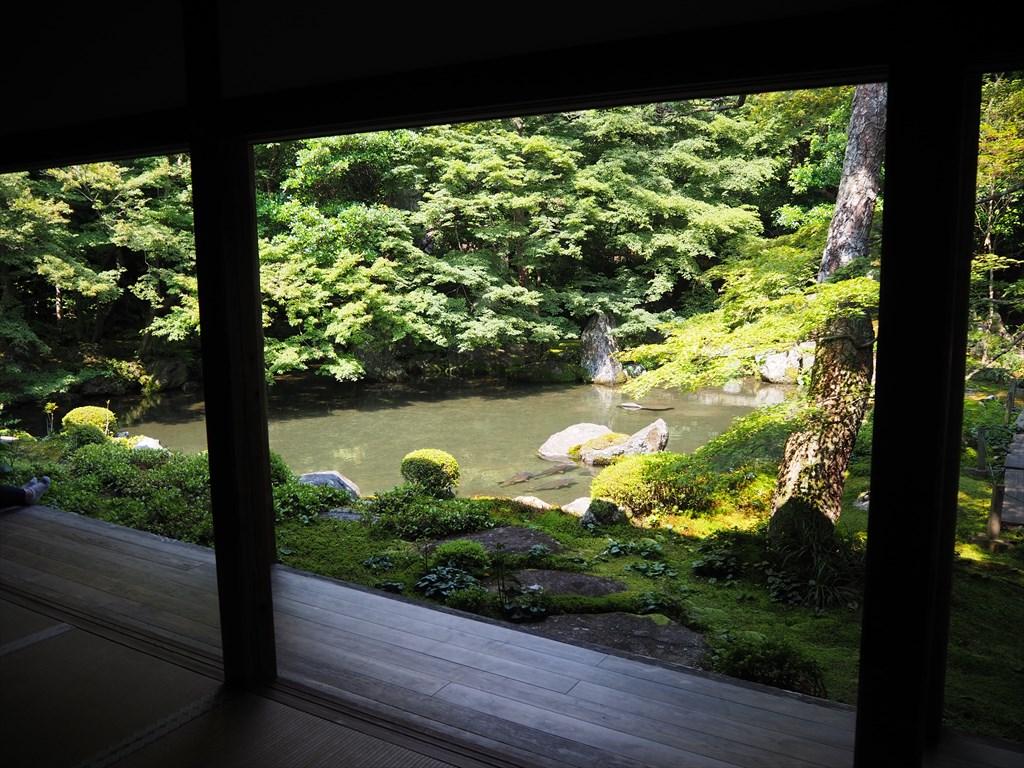 静かに過ごせる蓮華寺の額縁庭園