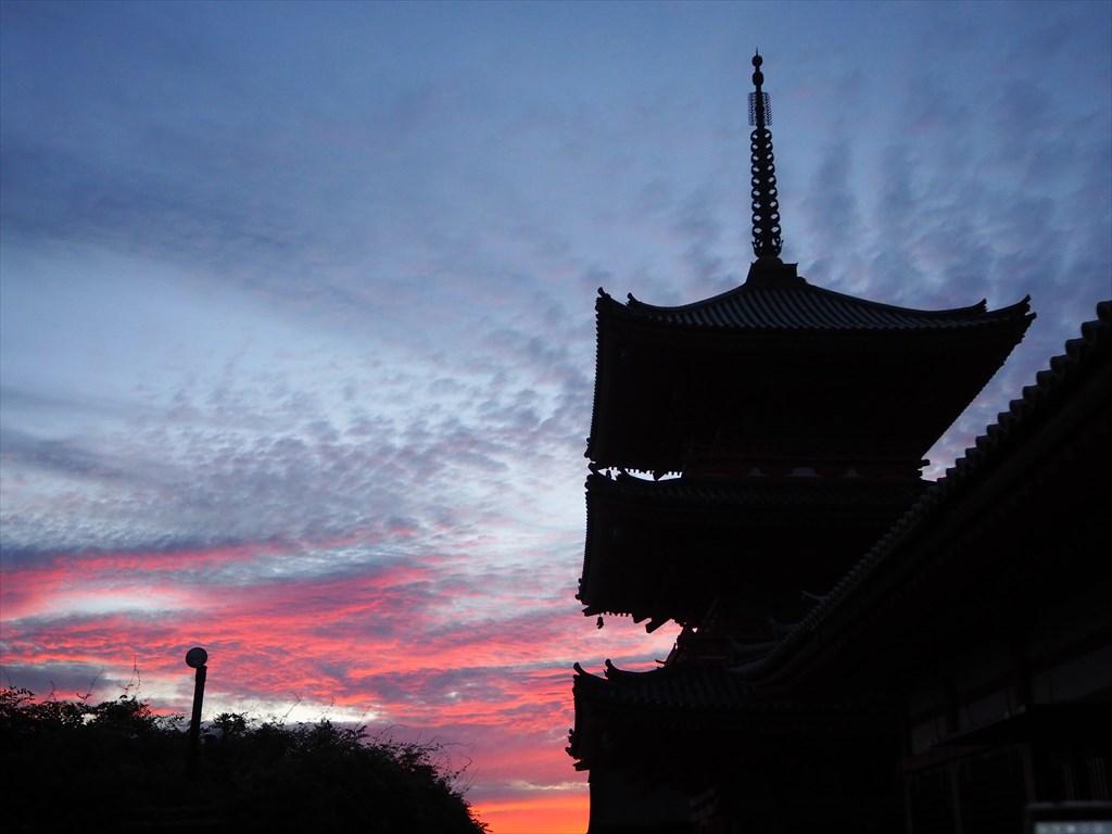 清水寺からの夕焼け